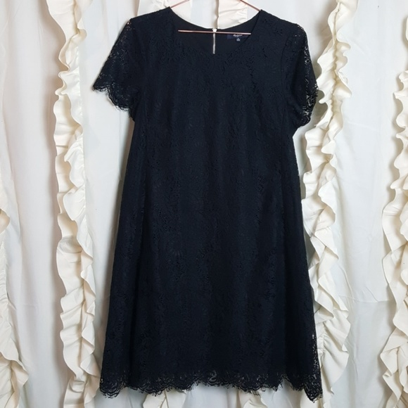 a05d5453ca Madewell Dresses | Black Lace Overlay Aline Dress Fringe | Poshmark